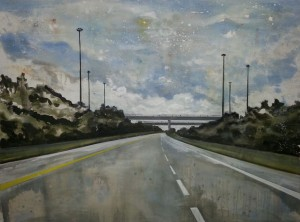 Motorway. oil on board. 122x92cm