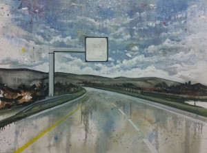 Motorway.2, oil on board. 122x92cm 2015.